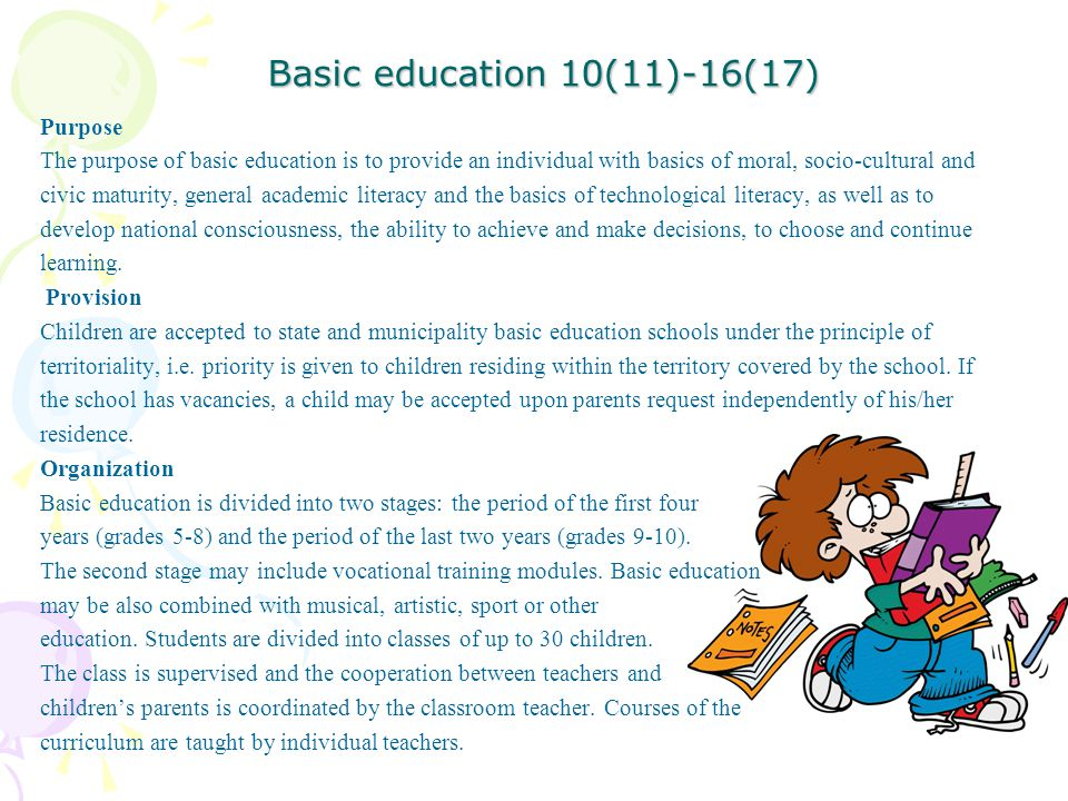 Basic education 10(11)-16(17)
