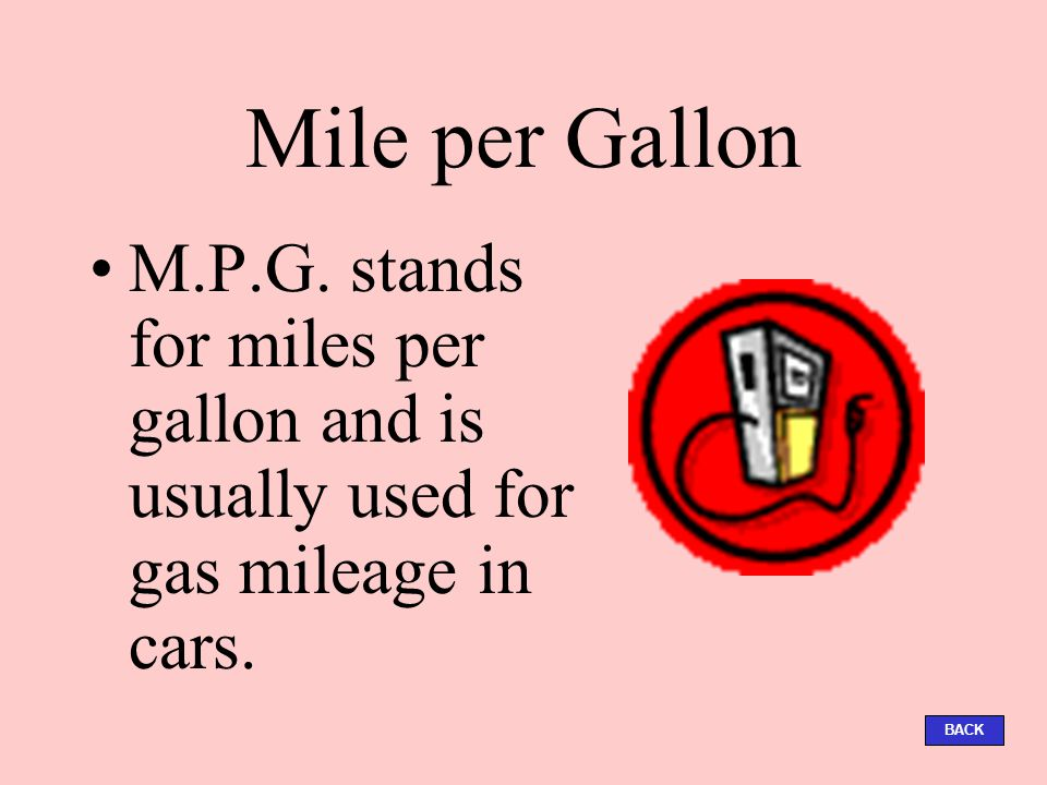 Mile Per Gallon M P G Stands For Miles And Is Usually Used Gas Mileage