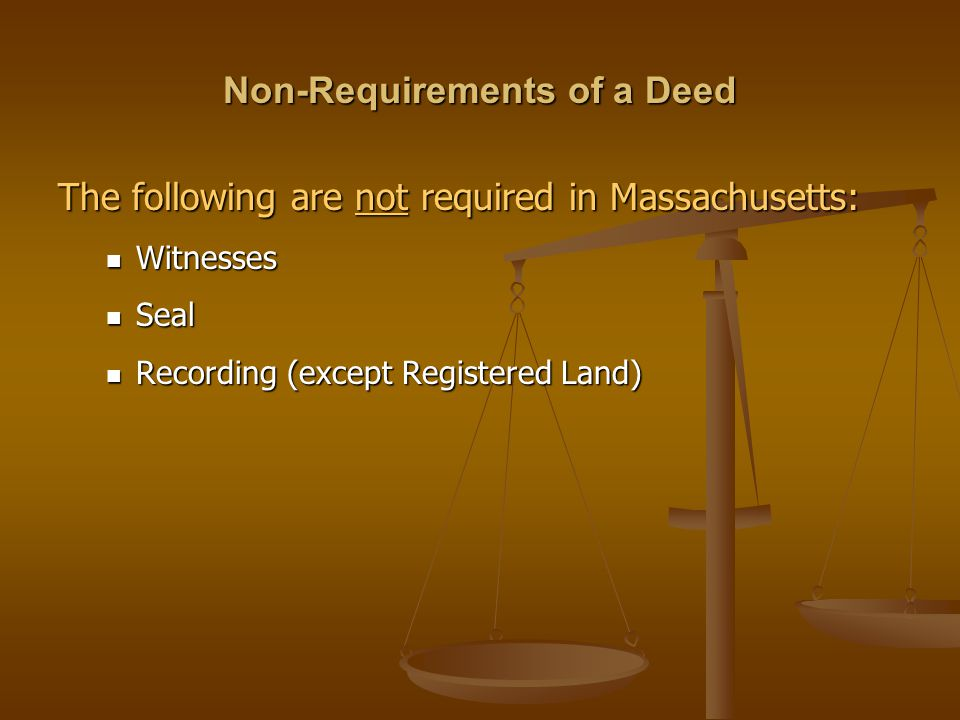 Non-Requirements of a Deed