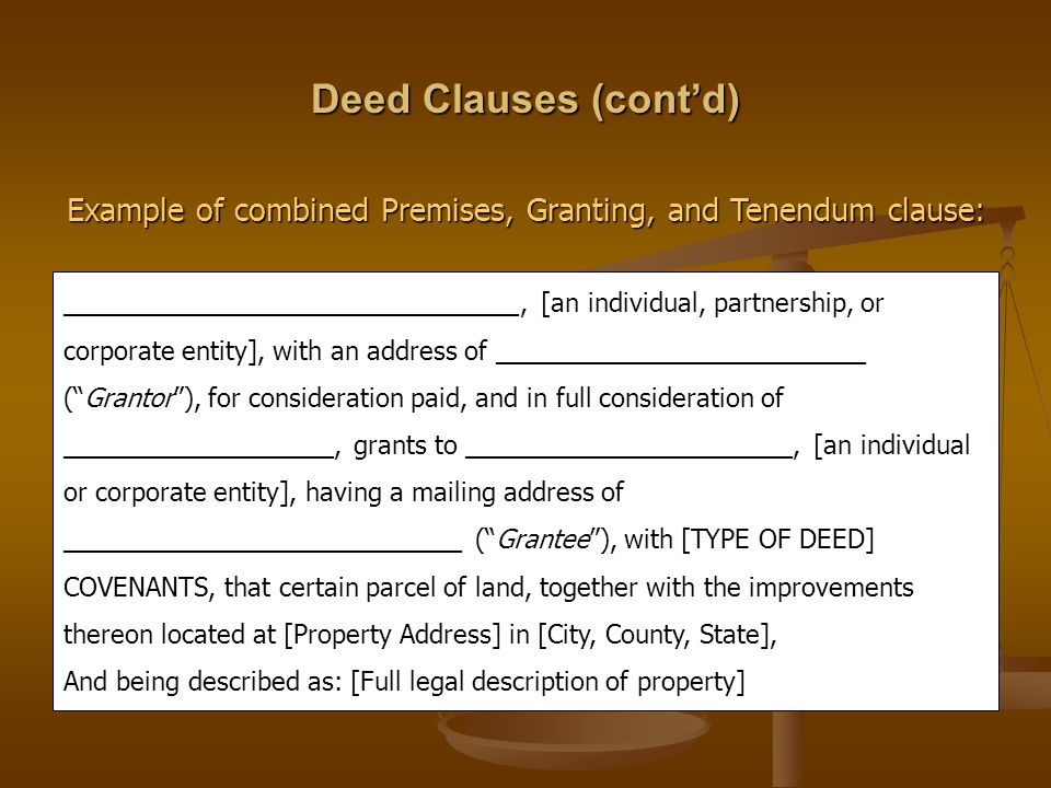 Example of combined Premises, Granting, and Tenendum clause: