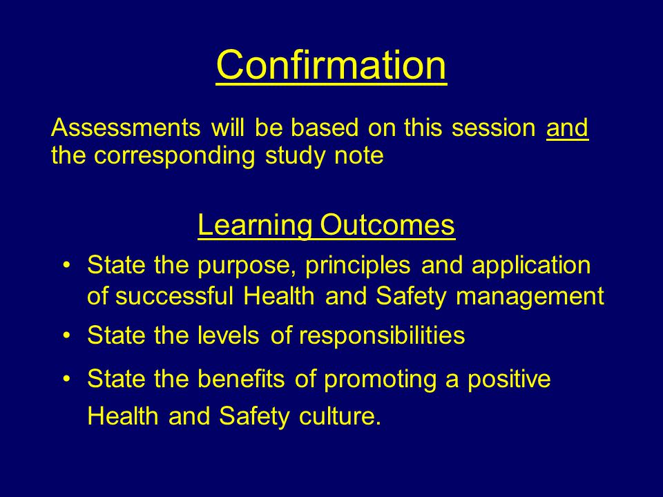Confirmation Learning Outcomes