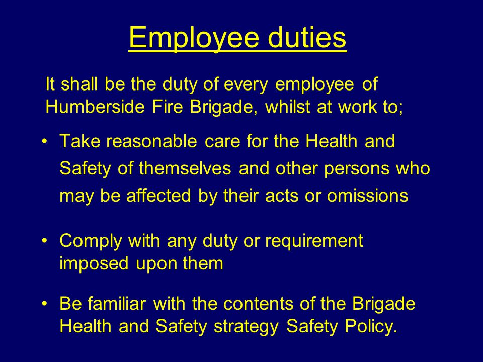 Employee duties It shall be the duty of every employee of Humberside Fire Brigade, whilst at work to;
