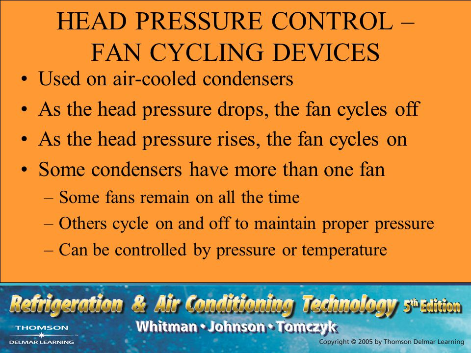 HEAD PRESSURE CONTROL – FAN CYCLING DEVICES