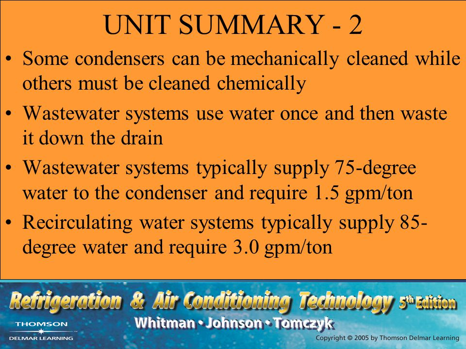 UNIT SUMMARY - 2 Some condensers can be mechanically cleaned while others must be cleaned chemically.
