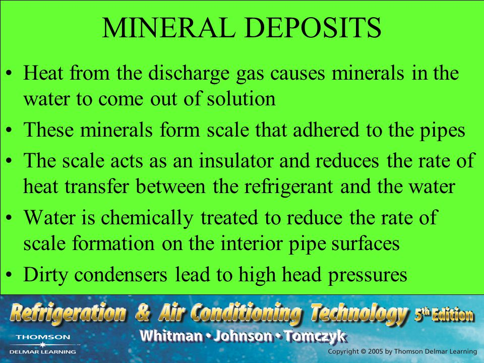 MINERAL DEPOSITS Heat from the discharge gas causes minerals in the water to come out of solution.