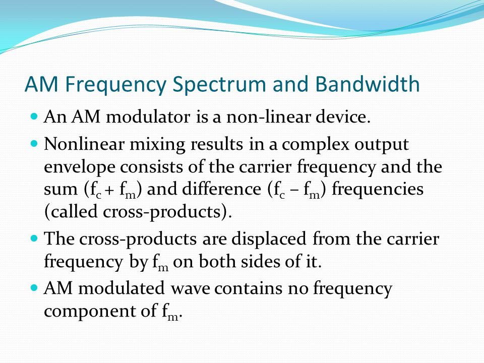 AM Frequency Spectrum and Bandwidth