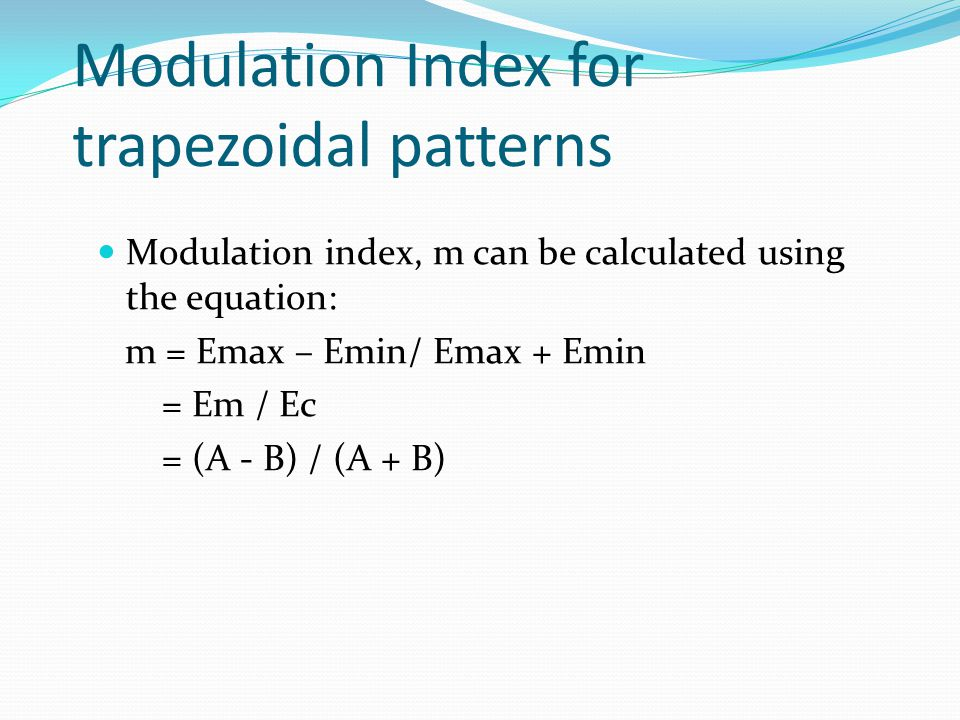 Modulation Index for trapezoidal patterns
