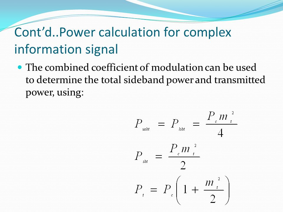 Cont'd..Power calculation for complex information signal