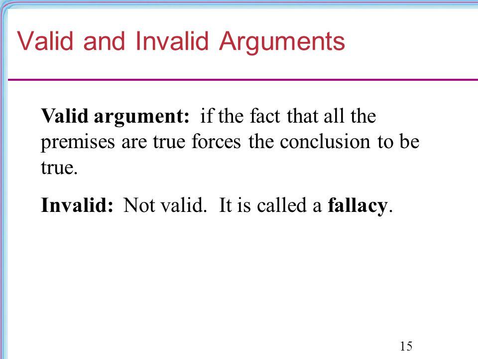 valid vs invalid arguments