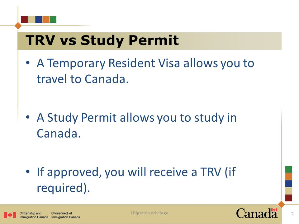 A Temporary Resident Visa allows you to travel to Canada.