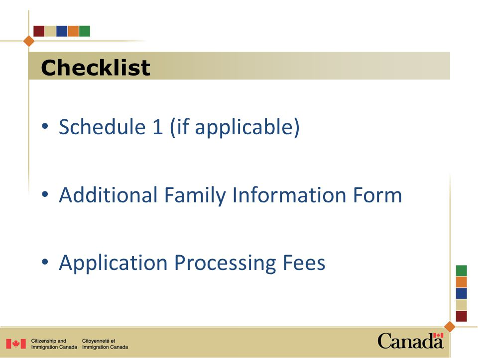 Schedule 1 (if applicable) Additional Family Information Form