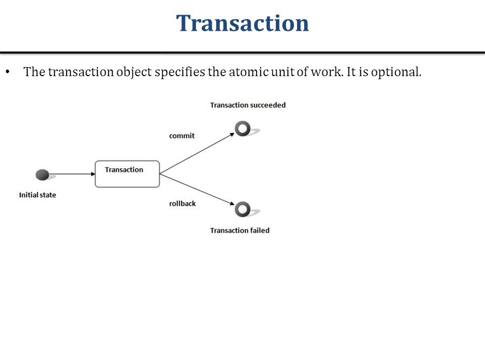 Transaction The transaction object specifies the atomic unit of work. It is optional.
