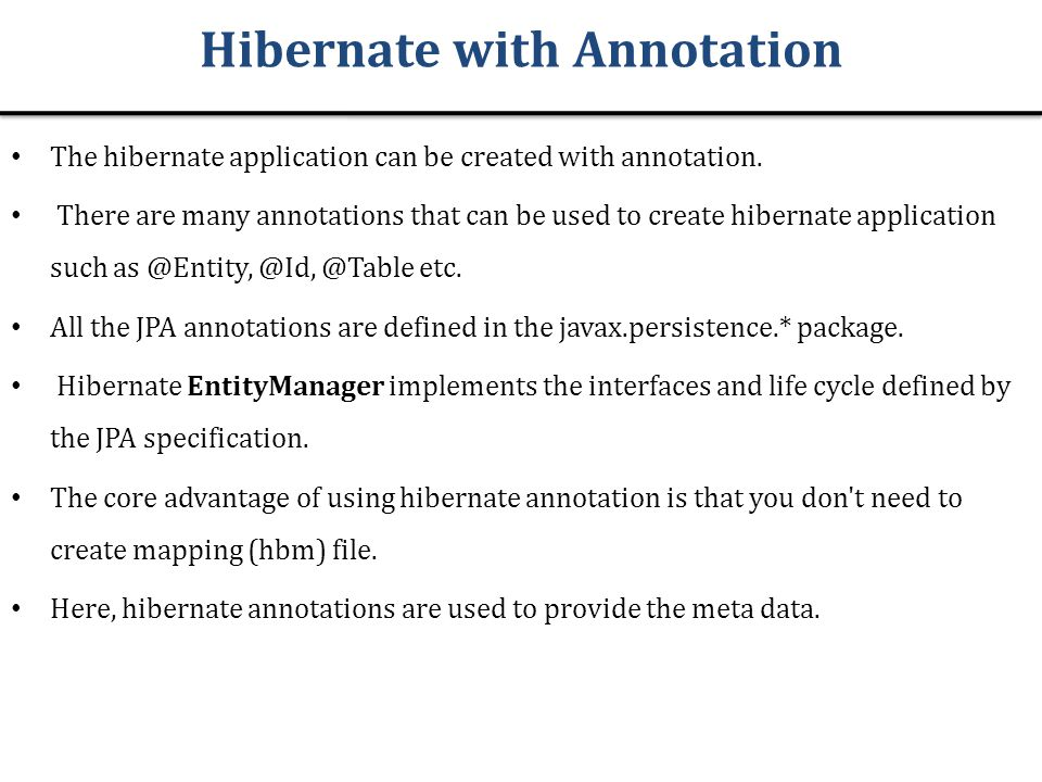 Hibernate with Annotation
