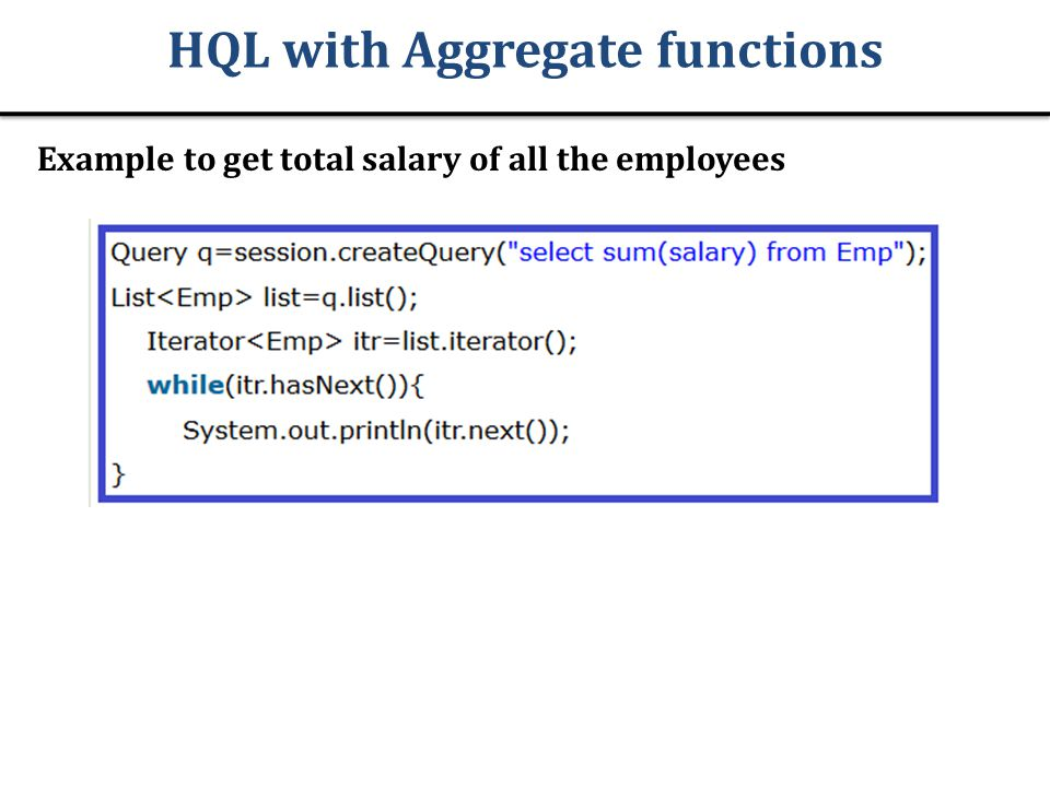 HQL with Aggregate functions
