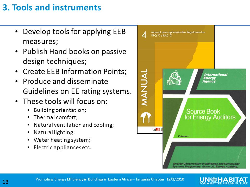 3. Tools and instruments Develop tools for applying EEB measures;