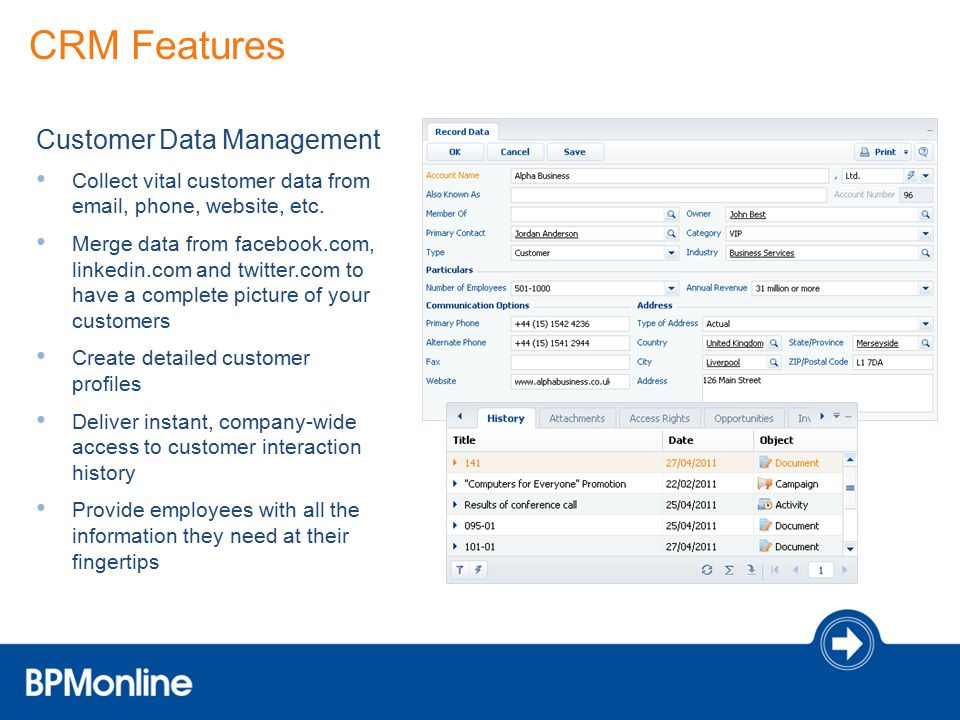 CRM Features Customer Data Management