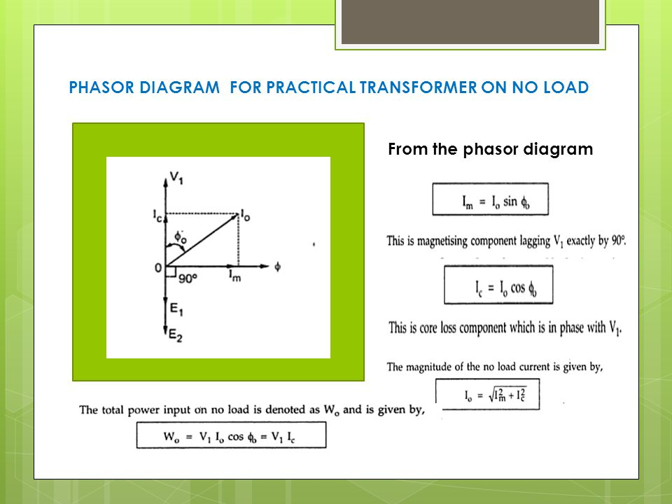 Phasor diagram of ideal transformer at no load wiring single phase transformer ppt video online download phasor diagram of ideal transformer at no load ccuart Image collections