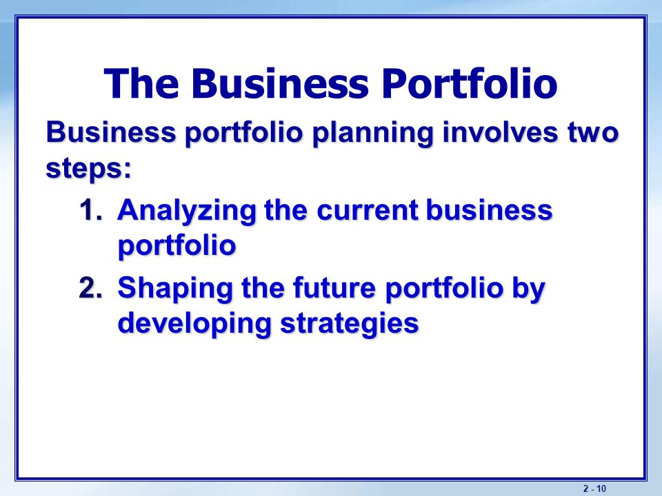 Strategic Planning Portfolio Design