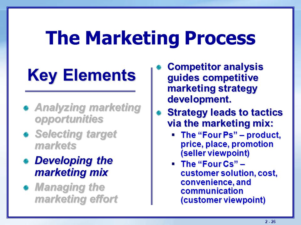 Marketing Mix The marketing mix includes controllable and tactical marketing tools knows as the 4P's.