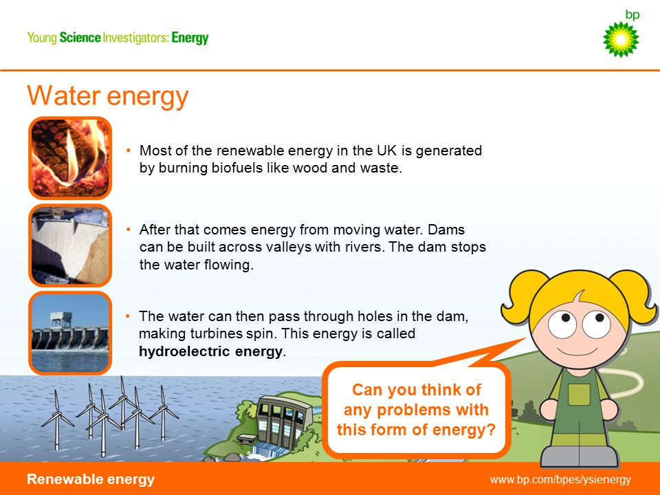 Water energy Can you think of any problems with this form of energy