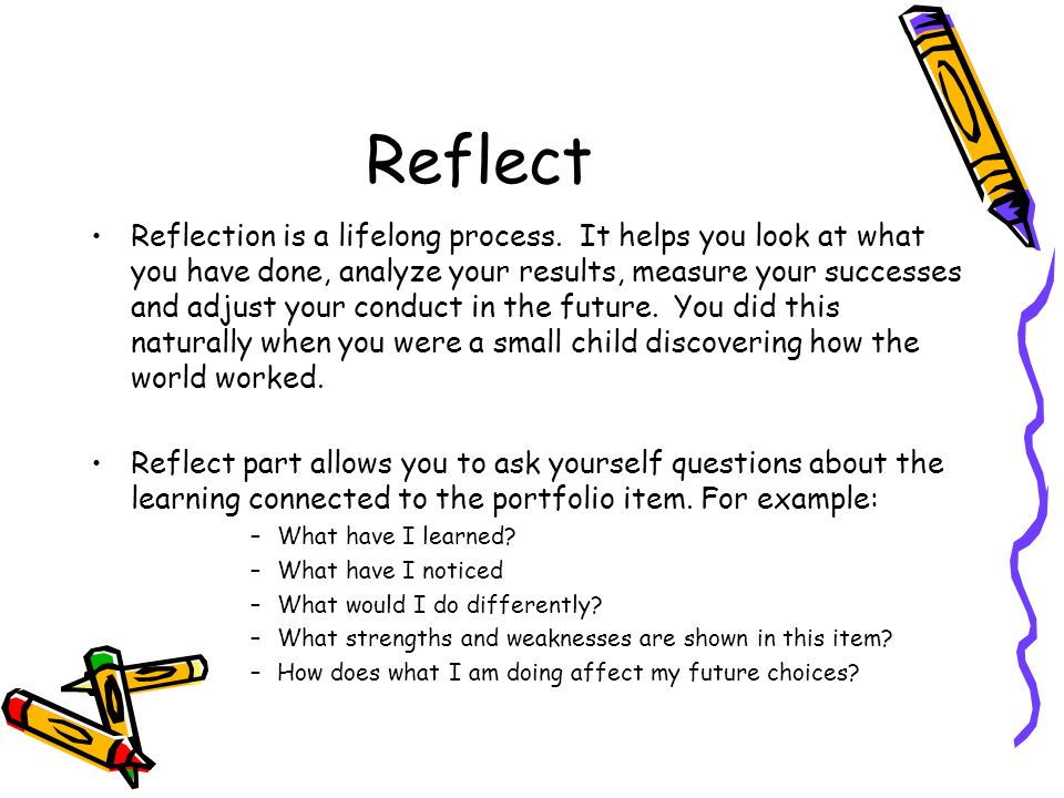 portfolio reflective essay sample