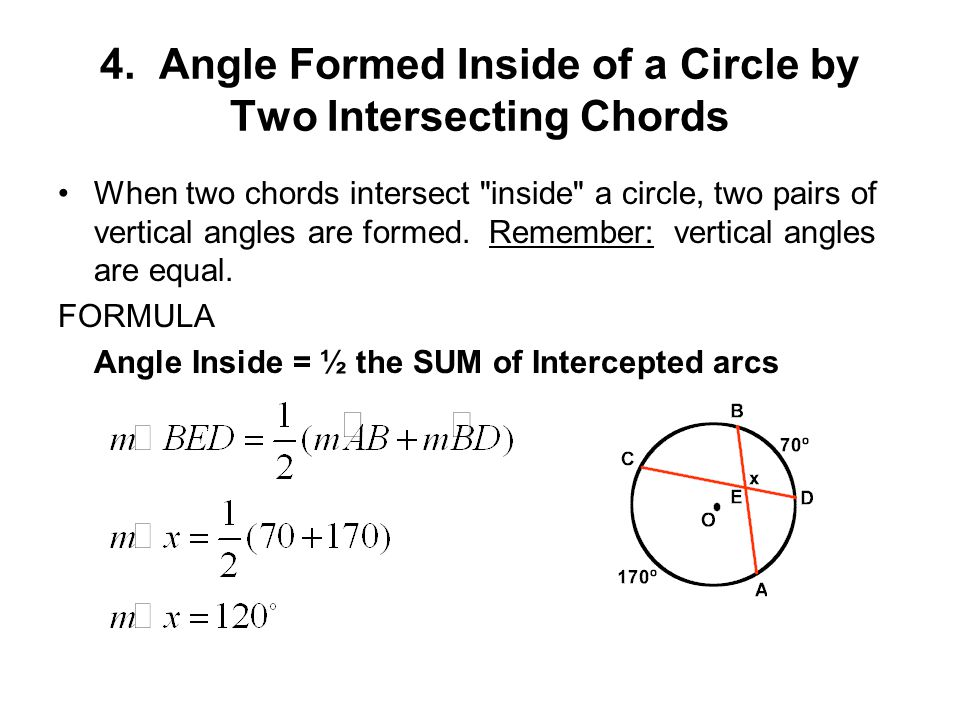 Formulas for Angles in Circles - ppt video online download