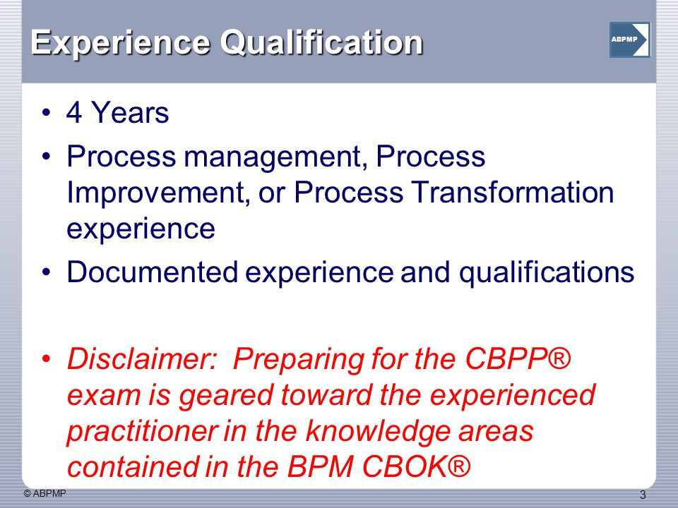 Experience Qualification