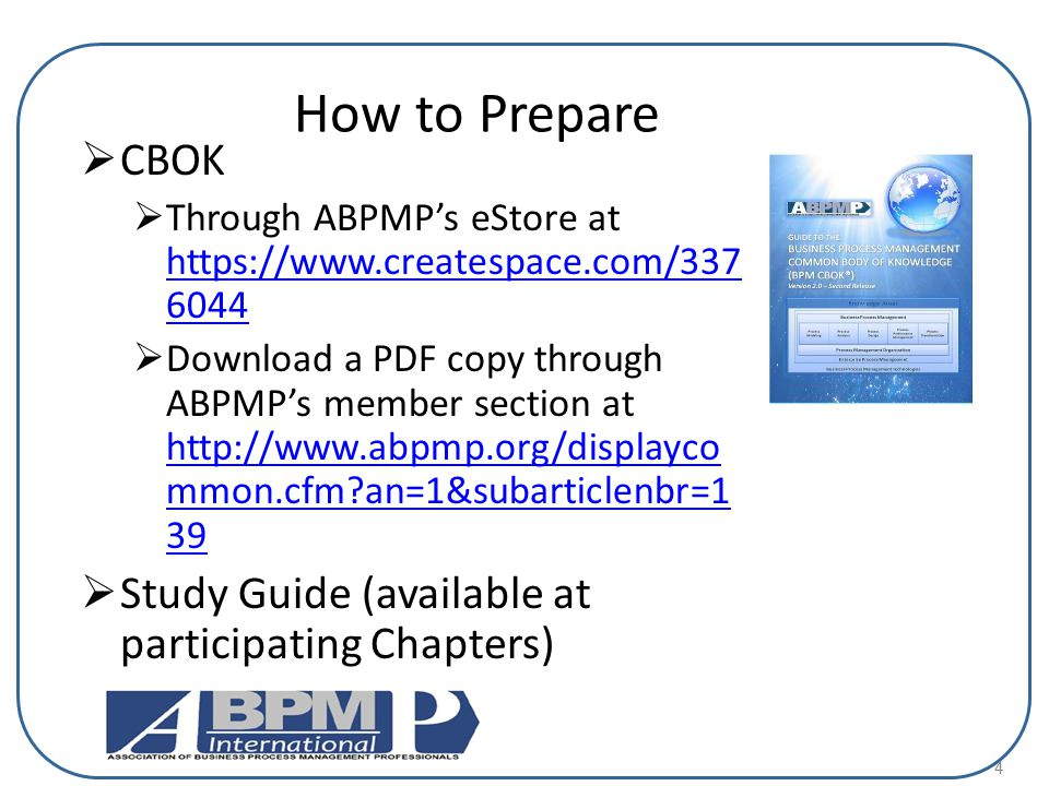 How to Prepare CBOK Study Guide (available at participating Chapters)