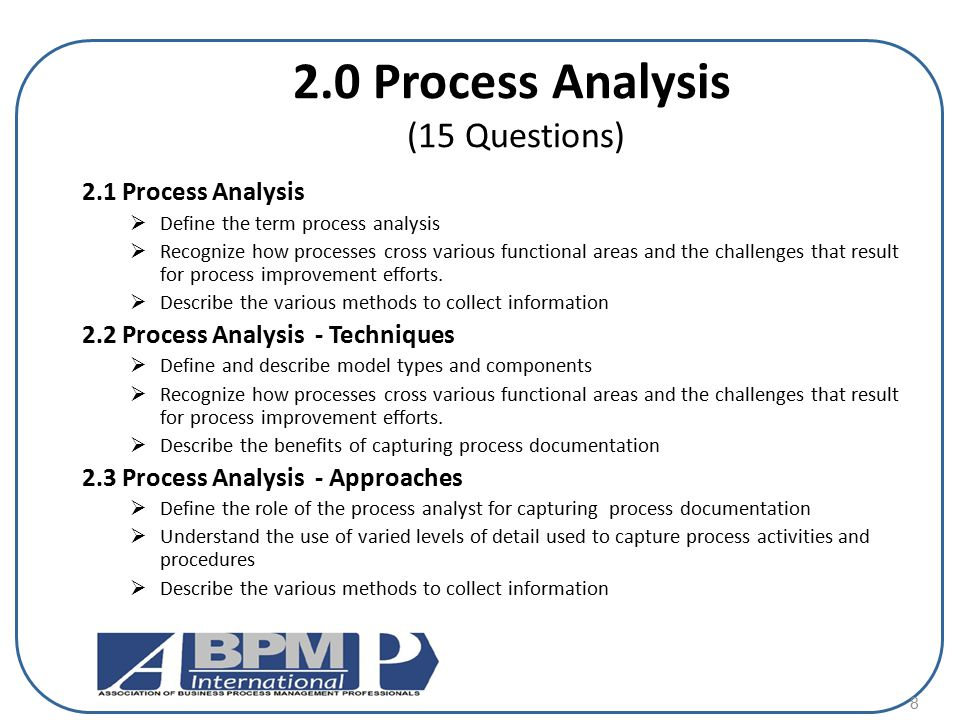 2.0 Process Analysis (15 Questions)