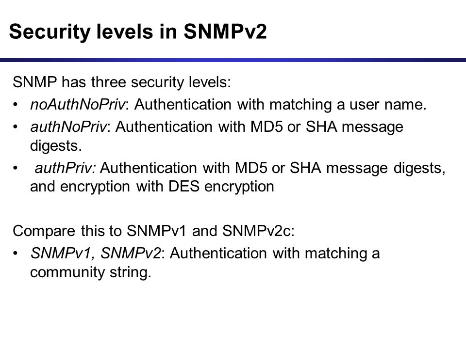 Security levels in SNMPv2
