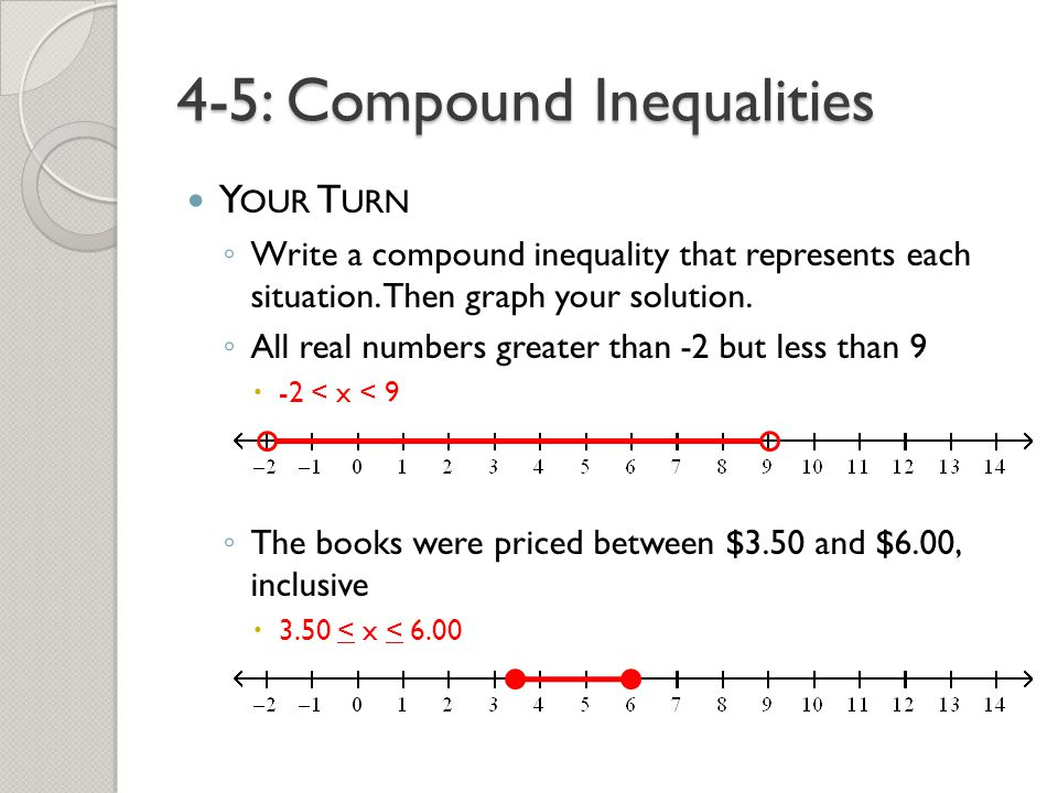 Printable Worksheets compound inequality worksheets : 4-5: Compound Inequalities - ppt video online download