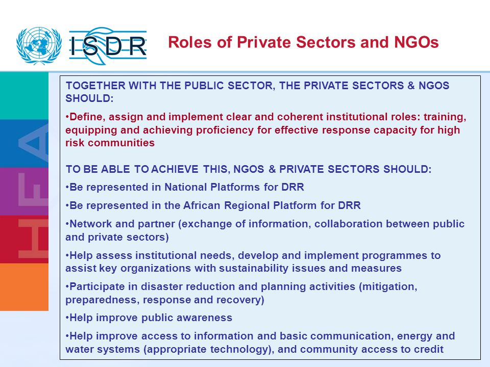 Roles of Private Sectors and NGOs