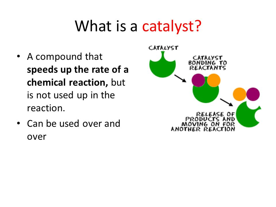 What is a catalyst A compound that speeds up the rate of a chemical reaction, but is not used up in the reaction.