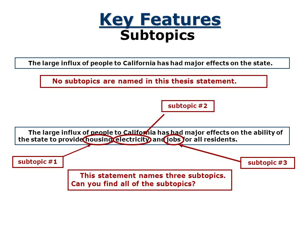 Key Features Subtopics