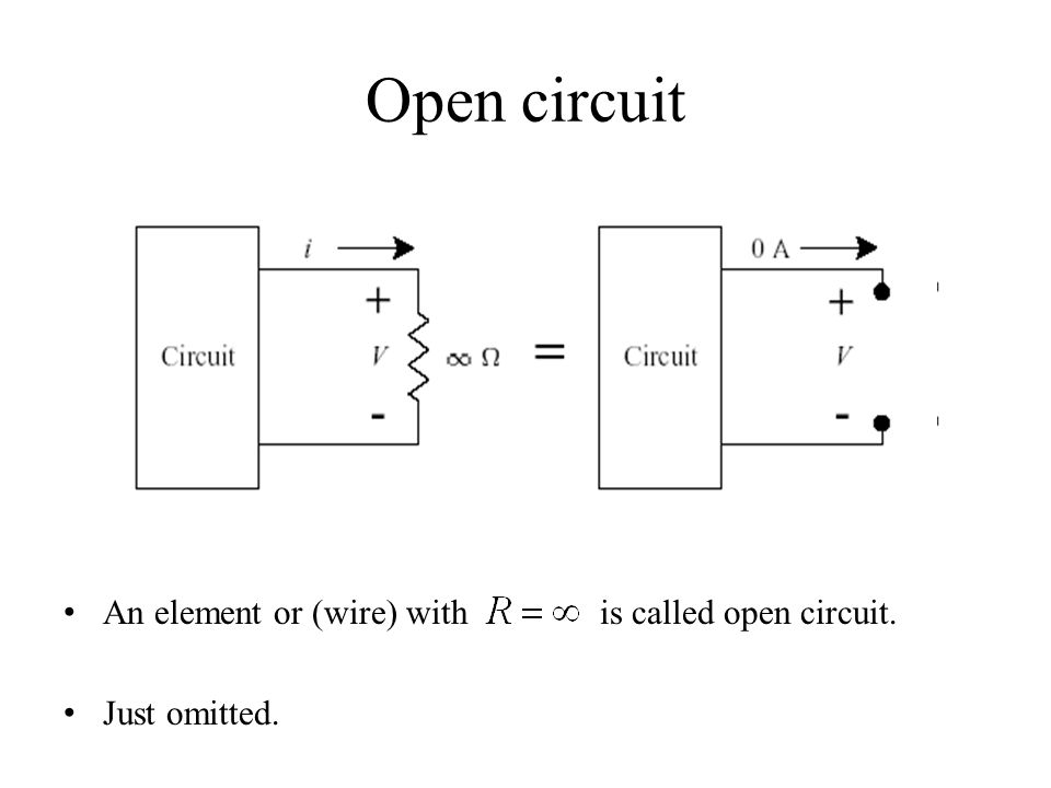 Open circuit An element or (wire) with is called open circuit.