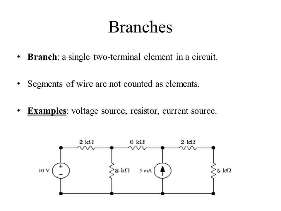 Branches Branch: a single two-terminal element in a circuit.