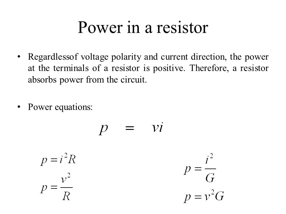 Power in a resistor