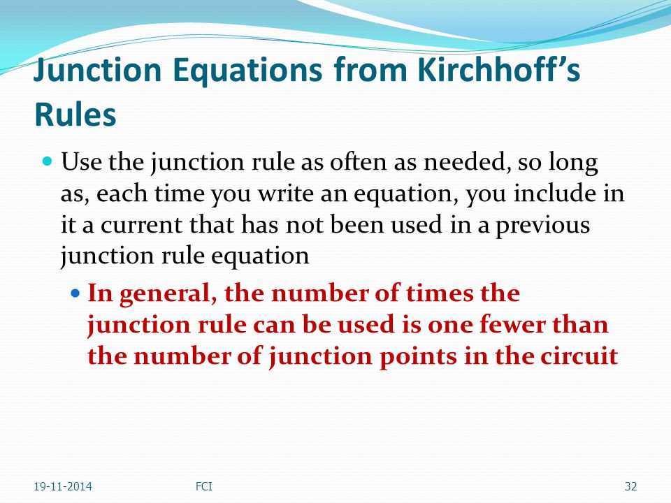 Junction Equations from Kirchhoff's Rules