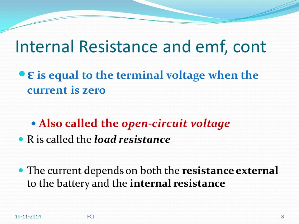 Internal Resistance and emf, cont