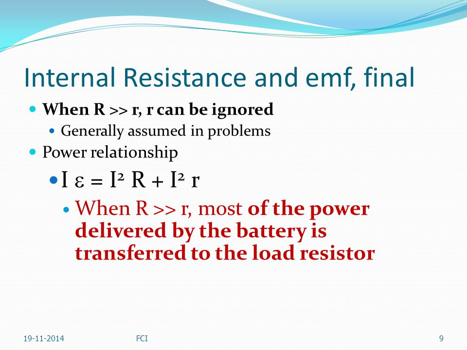 Internal Resistance and emf, final