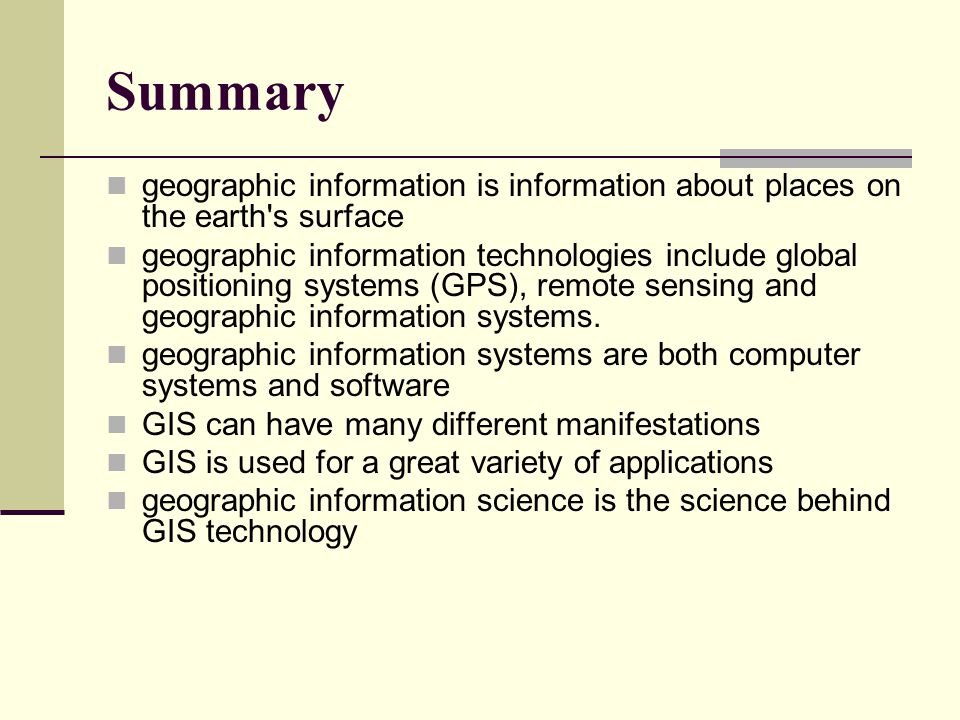 applications of geographic information system essay ) geographical information systems level 3 assignment 1: review essay although these applications have brought a simplified form of gis to a huge audience of users, the more sophisticated spatial and statistical analytical aspects of gis are still being developed, as is the field of geographic.