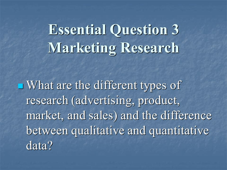 Essential Question 3 Marketing Research