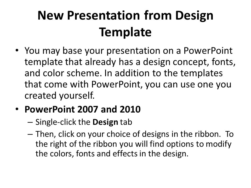 New Presentation from Design Template