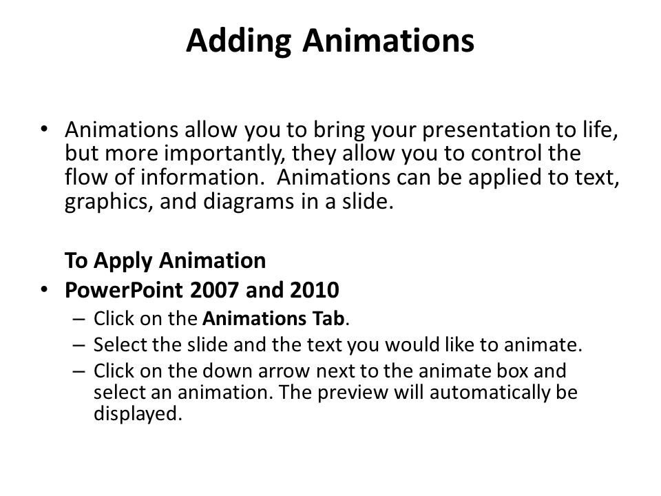 Adding Animations