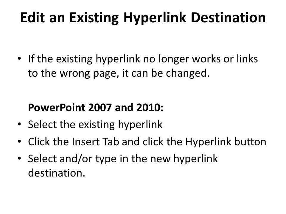Edit an Existing Hyperlink Destination