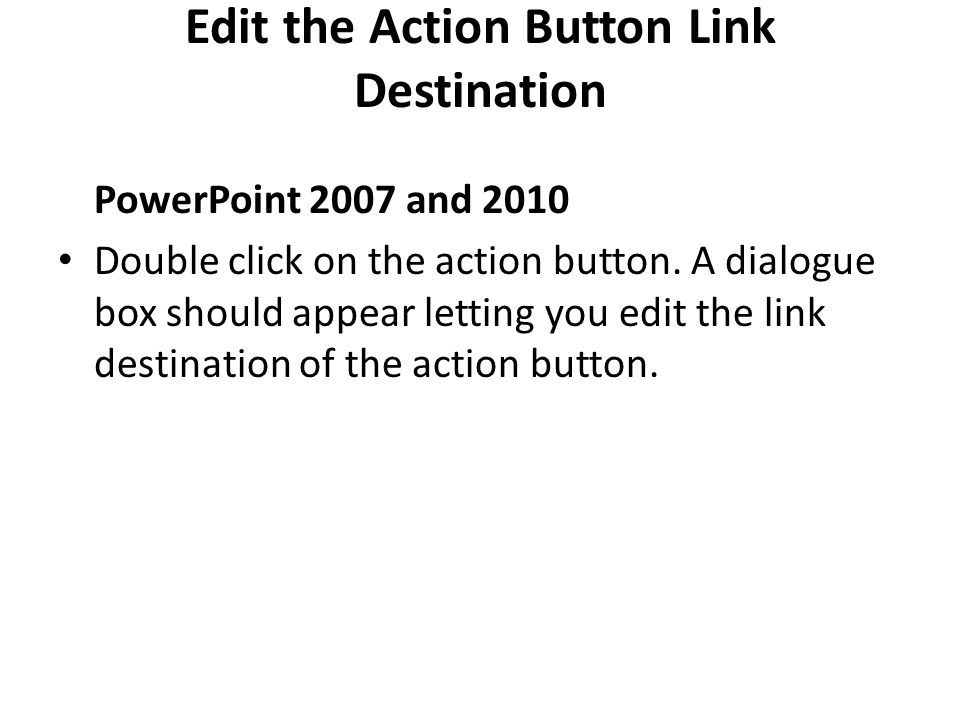 Edit the Action Button Link Destination