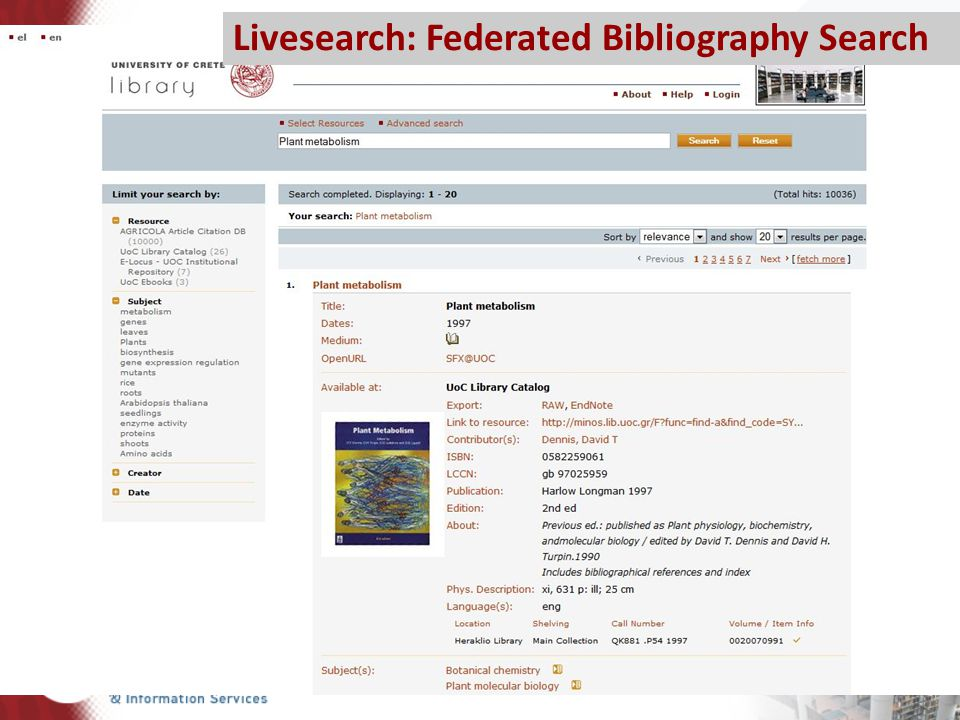 Livesearch: Federated Bibliography Search