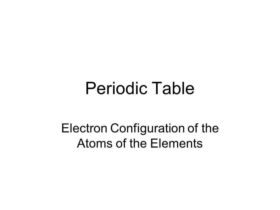 Electron Configuration Of The Atoms Of The Elements Ppt Download