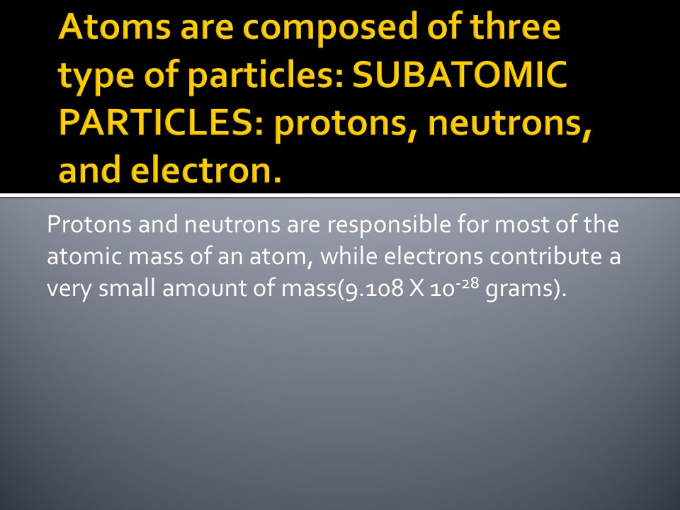 Atoms are composed of three type of particles: SUBATOMIC PARTICLES: protons, neutrons, and electron.