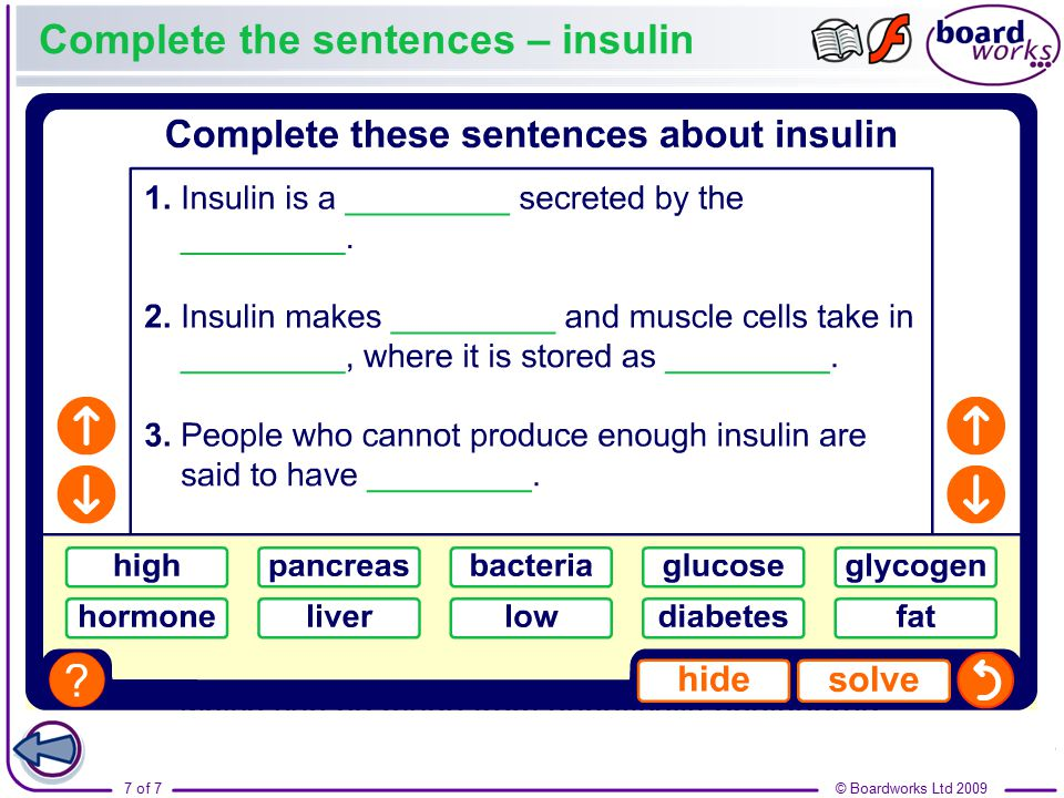 Complete the sentences – insulin